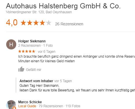Google Bewertungen Autohaus Halstenberg